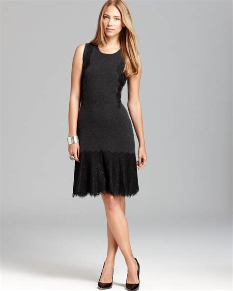 dress c c by bloomingdale s lace applique cashmere dress in black