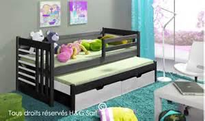 lit gigogne design pour enfant en bois massif avec rangement
