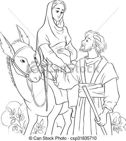 nativity icon coloring page mary and joseph travelling by donkey to bethlehem