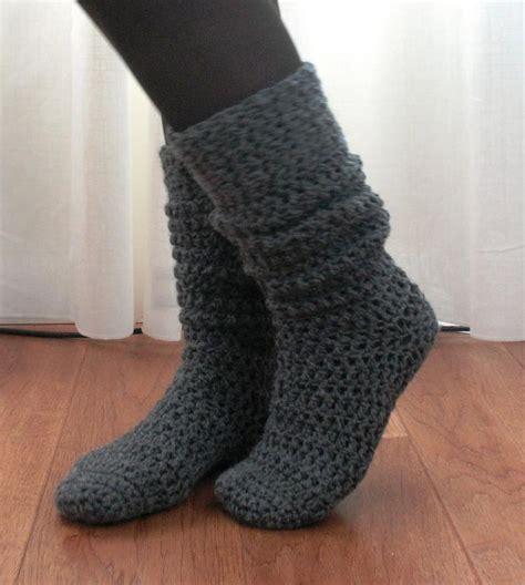 crochet pattern boot socks knee high boot socks 171 the yarn box crochet slippers