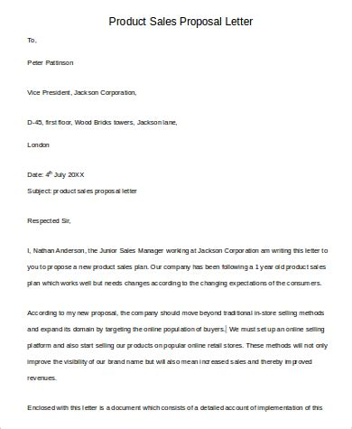 format of business proposal letter sle sle sales proposal letter 6 exles in pdf word