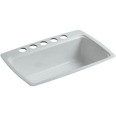 Cast Iron Kitchen Sinks Undermount Kohler Cape Dory Undermount Cast Iron 33 In 5 Single Basin Kitchen Sink In Grey K 5864
