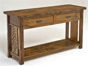 sofa table lodge furniture barn wood sofa table reclaimed with shelf