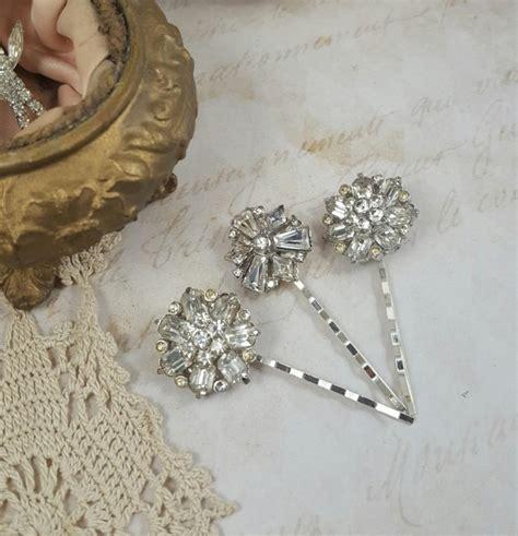 Vintage Bridal Hair Pins by Set Of 3 Bridal Hair Pins Jeweled Bridal Hair Pins