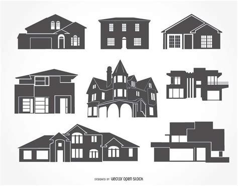 house silhouette house silhouettes collection free vector
