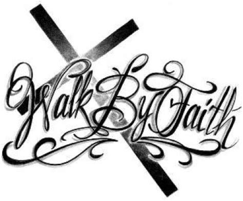 walk by faith tattoo design black ink cross walk by faith design
