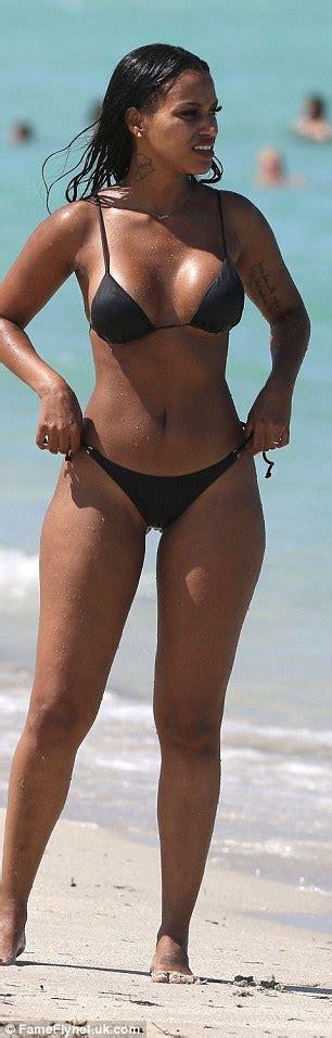 best ebony movies wag fanny neguesha sizzles in a tiny black bikini in miami