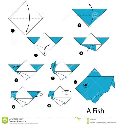 step by step how to make origami a fish