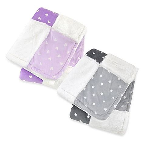 Just Patchwork - just born 174 plush patchwork blanket www buybuybaby
