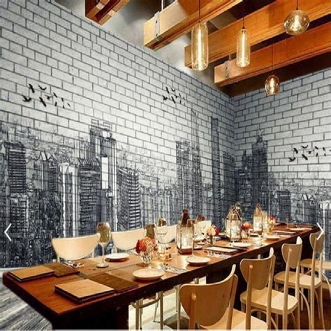 Big Wall Murals urban architecture black white hand painted brick wall 3d