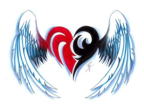 tribal heart with wings tattoo tattoos and designs page 183
