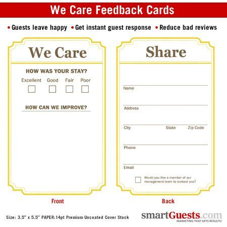 hotel comment card template 104 best smartguest products images on