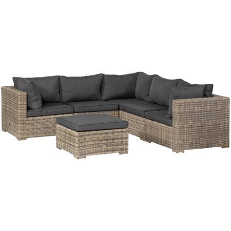 Lounge Sofa Outdoor Polyrattan by Exotan 174 Rimini Lounge Sitzgruppe 6 Teilig Natur Grau