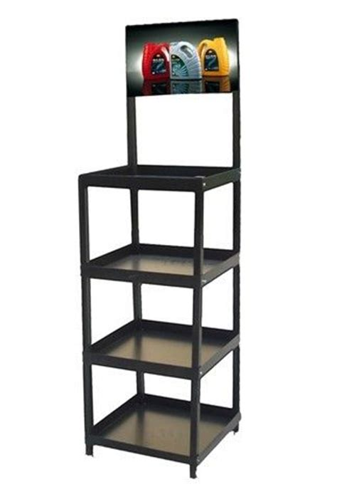 retail display racks stand with 4 fixed metal shelves for