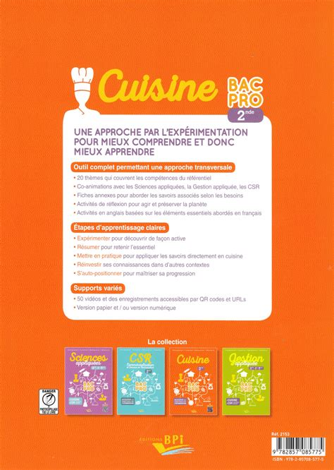 livre cuisine v馮騁arienne seconde bac pro cuisine cuisine bac pro 1 232 re terminale