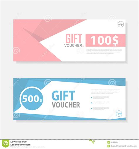 pink blue gift voucher template pattern cute gift voucher
