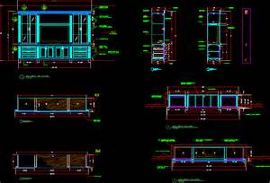 Study Bookcases Media Wall Unit In Autocad Drawing Bibliocad