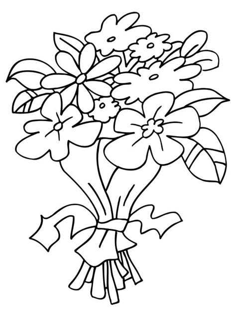 Free Coloring Pages Of Bouquet Of Flowers Bouquet Roses Coloring Pages