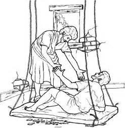 the paralytic drops down from the roof to be healed