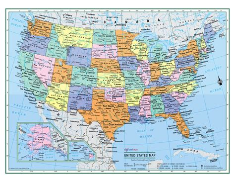 map usa rolled usa united states wall map 32 quot x24 quot large print laminated