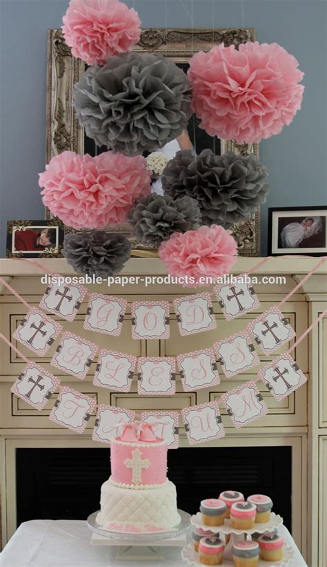 How To Make Paper Decorations For Baby Shower - pink theme ideas tissue paper pom poms honeycomb