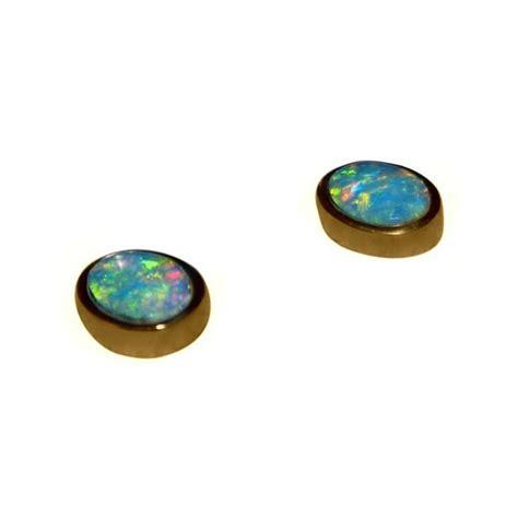 black opal earring stud earring opal earring gemstone opal earrings 14k gold studs oval green gold flashopal