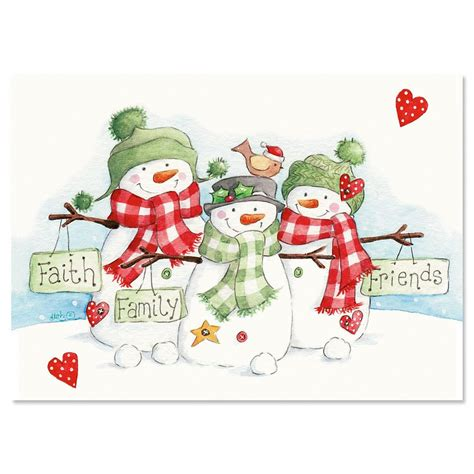snowmen trio religious christmas cards current catalog