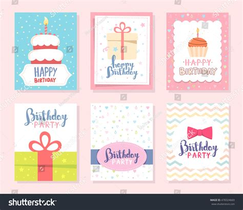birthday candle card template vector set colorful illustration happy birthday stock