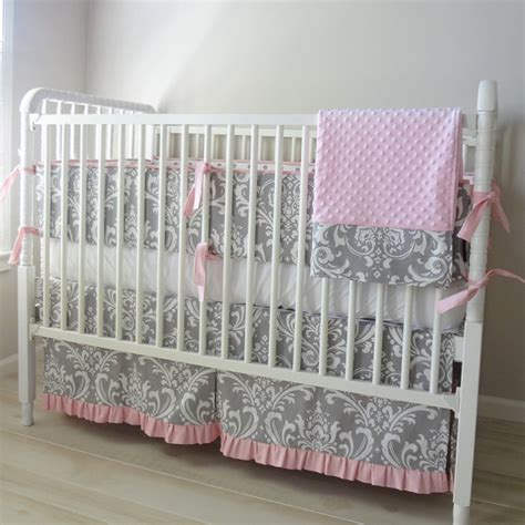 Pink And Grey Damask Crib Bedding Pink And Gray Damask Crib Baby Bedding Set By Babymilanbedding