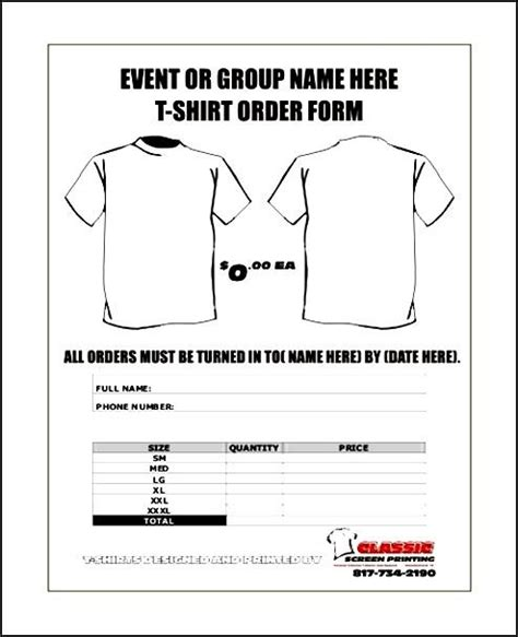 free t shirt order forms templates word besttemplates123