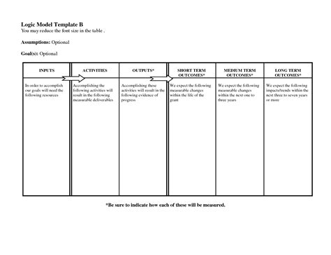 logic model template word templates data
