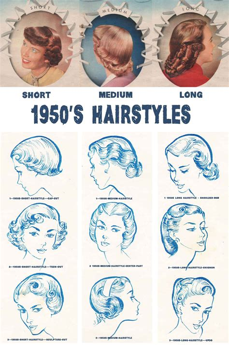 updos for medium length hair from the 1950 s 1950s hairstyles chart for your hair length glamourdaze