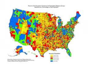 us religion map by county this map shows the most and least religious counties in