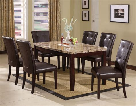 Brown Marble Dining Table Granada 7pc Arc Dining Table In Brown Marble Walnut Modern Dining Tables