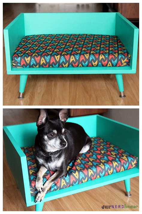 diy dog couch diy mid century style pet bed with a touch of star trek