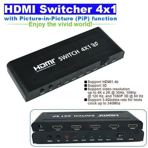 Connector Vernon 4 X 1 Hdmi Switcher promotion 4x1 hdmi 1 4b switcher switch pip picture in