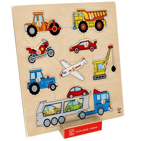 Wooden Knob Puzzles by Vehicles 10 Pc Wooden Knob Puzzle Educational Toys Planet
