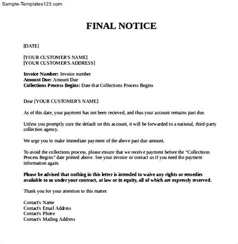 unpaid invoice final notice letter sle templates