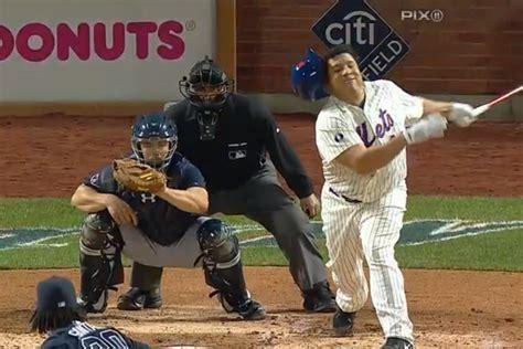 bartolo colon swing new york mets bartolo colon loses helmet on awful swing