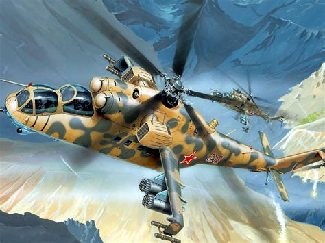 mil mi  gunship helicopter desktop wallpaper