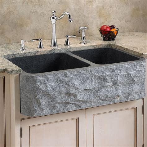 33 Quot Polished Marble 70 30 Offset Double Bowl Farmhouse Marble Kitchen Sink