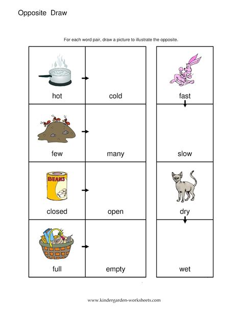 opposites cut and paste worksheets for preschool