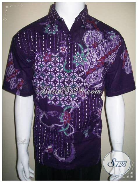 Baju Gamis Pria Unik Kemeja Batik Tulis Warna Ungu Baju Batik Pria Unik Dan