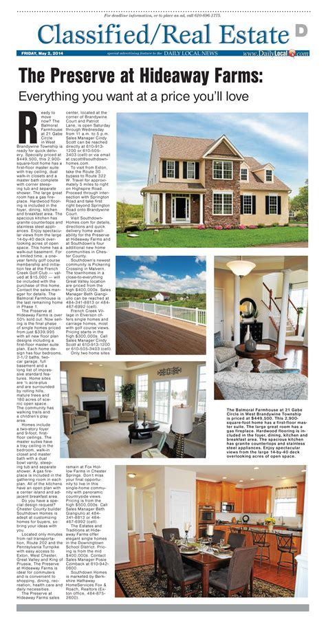 southdown homes new homes in chester county the preserve at hideaway farms featured in the daily local