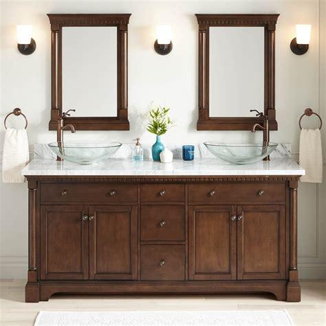 72 quot claudia double vessel sink vanity antique coffee bathroom