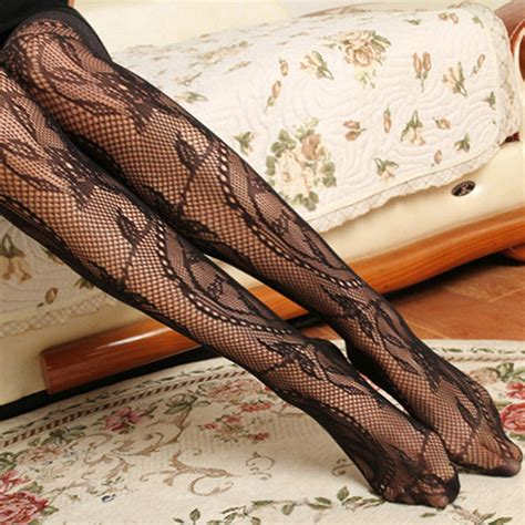 floral pattern tights uk new womens black fishnet lace floral pattern jacquard