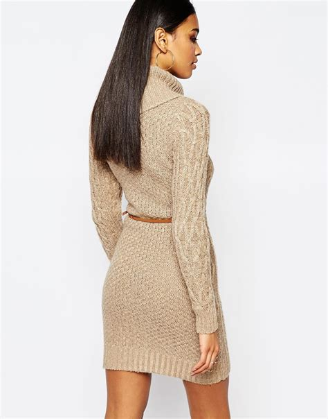 lipsy knitted dress lipsy cable knit dress with cowl neck in brown lyst