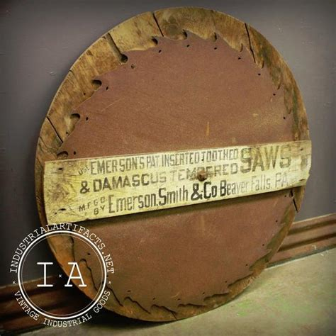 antique trade antique large emerson inserted tooth saw wooden trade sign