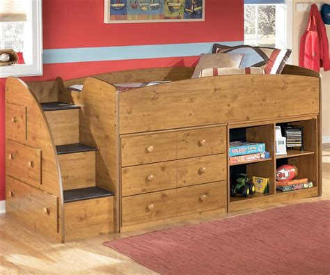 bunk beds with dresser built in loft bed with stairs for kids stages loft bed by ashley