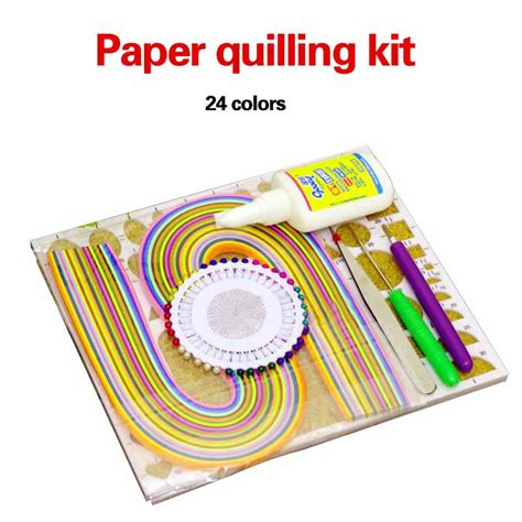 Paper Kit For - paper quilling kit 240pcs strips width 6mm 24 color work